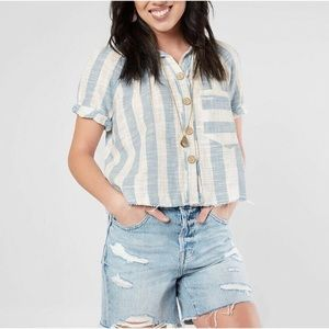 NWT Free People Blue Skies Button Down Tee M